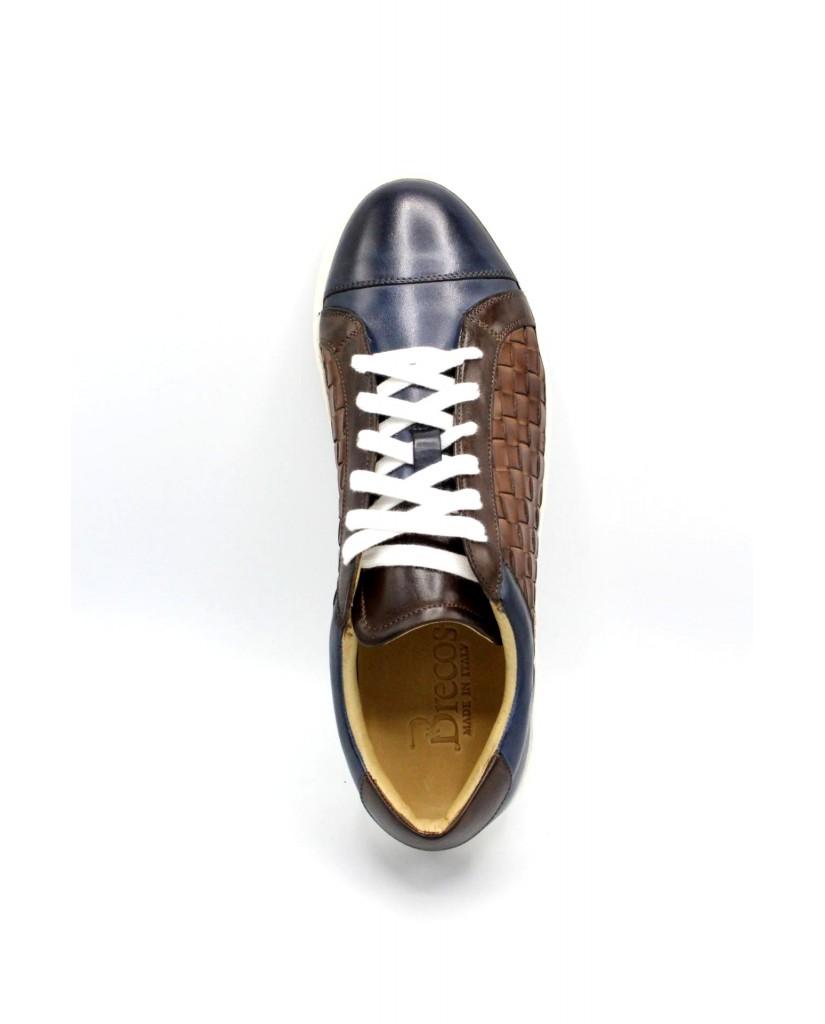 Brecos Sneakers F.cuoio 40/45 made in italy 7900 Uomo Azzurro Classico