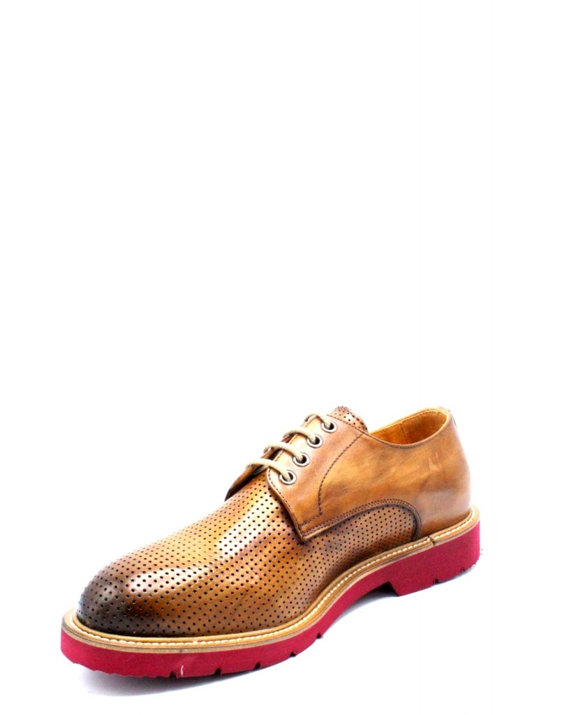 Exton Stringate F.gomma 39/46 made in italy derby 9057 Uomo Camel Fashion