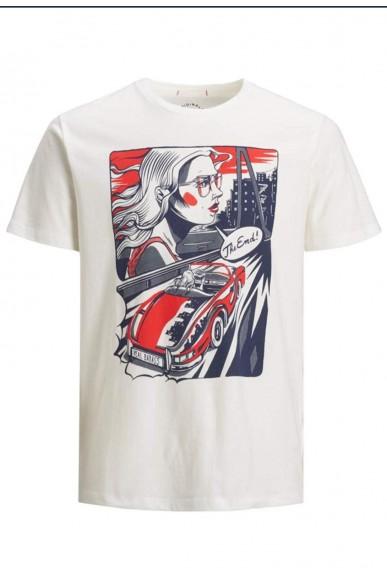 Jackejones T-shirt   Jorart comics tee ss crew neck Uomo Bianco