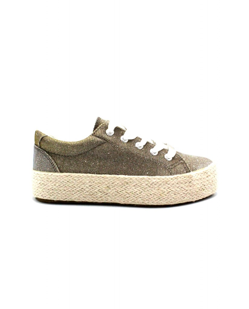 Cafe' noir Sneakers F.gomma 35/41 ginnico. stringato Donna Argento Fashion