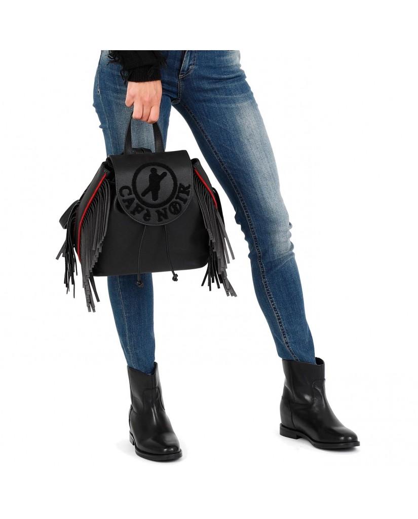 Cafe' noir Borse   Zaino con frange e logo floccato Donna Nero Fashion