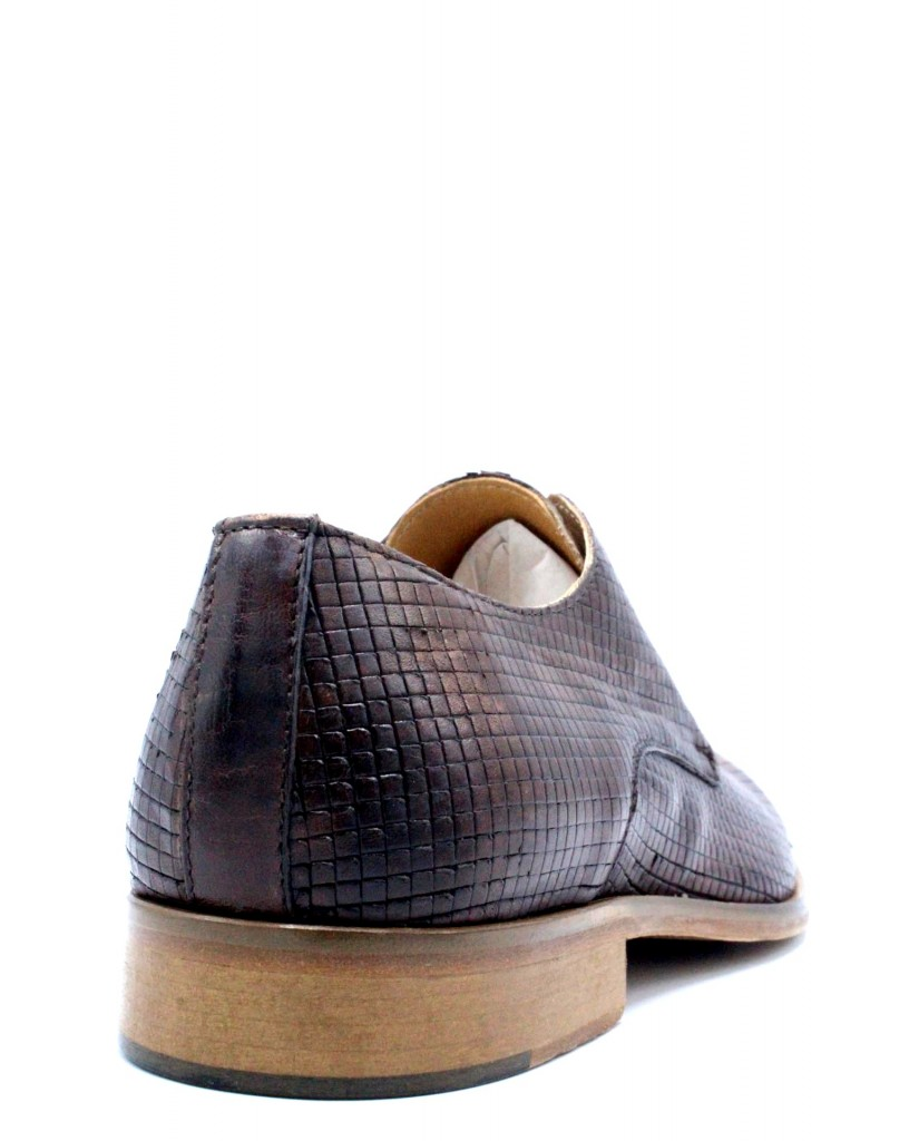 Exton Stringate F.gomma 39/46 derby 5354 made in italy Uomo Mogano Fashion