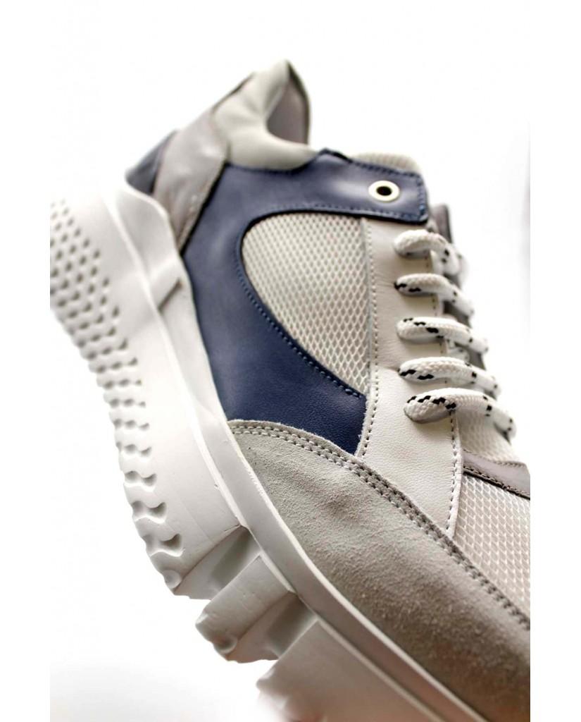 Exton Sneakers F.gomma 40/45 794 made in italy Uomo Bianco-blu Fashion