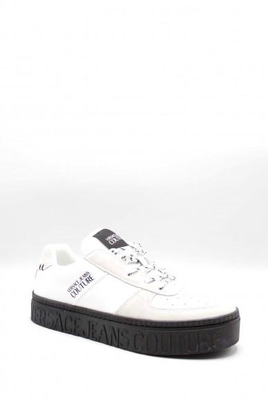 Versace couture Sneakers F.gomma Suede+leather+nylon+denim Uomo Bianco Fashion