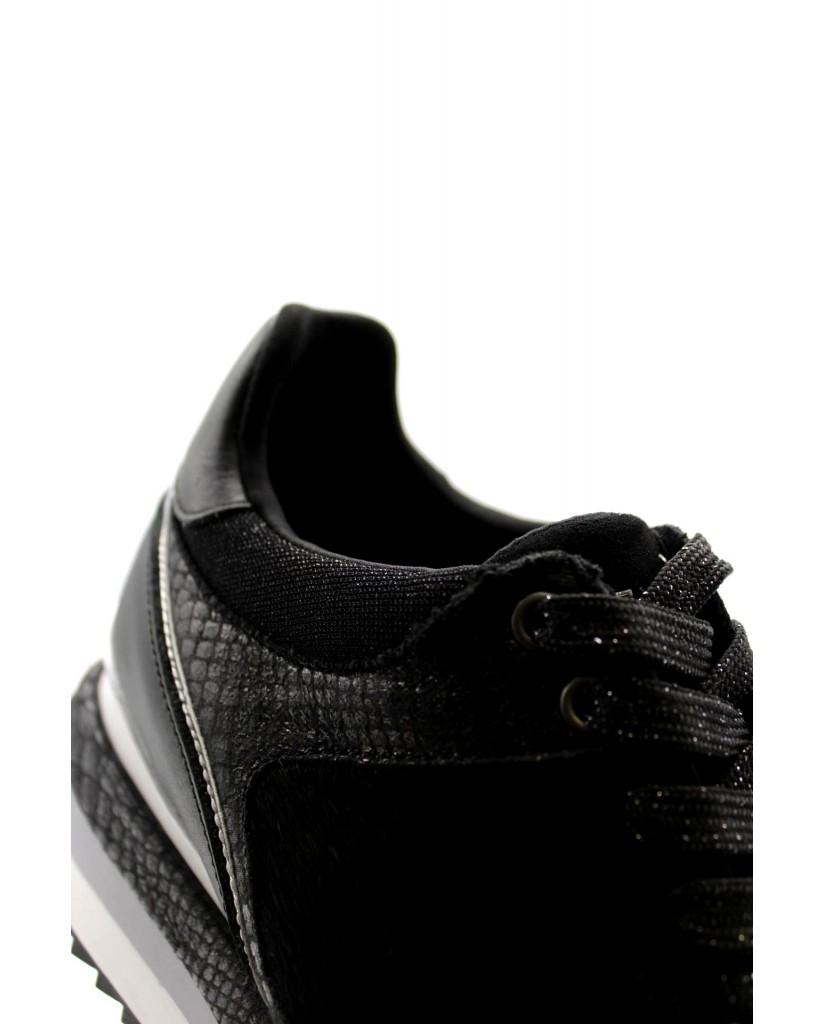 Cafe' noir Sneakers F.gomma Sneaker pelle allacciata con riport Donna Nero Fashion