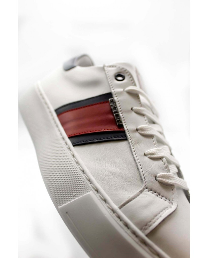 Exton Sneakers F.gomma 40/45 861 made in italy Uomo Bianco-rosso Fashion