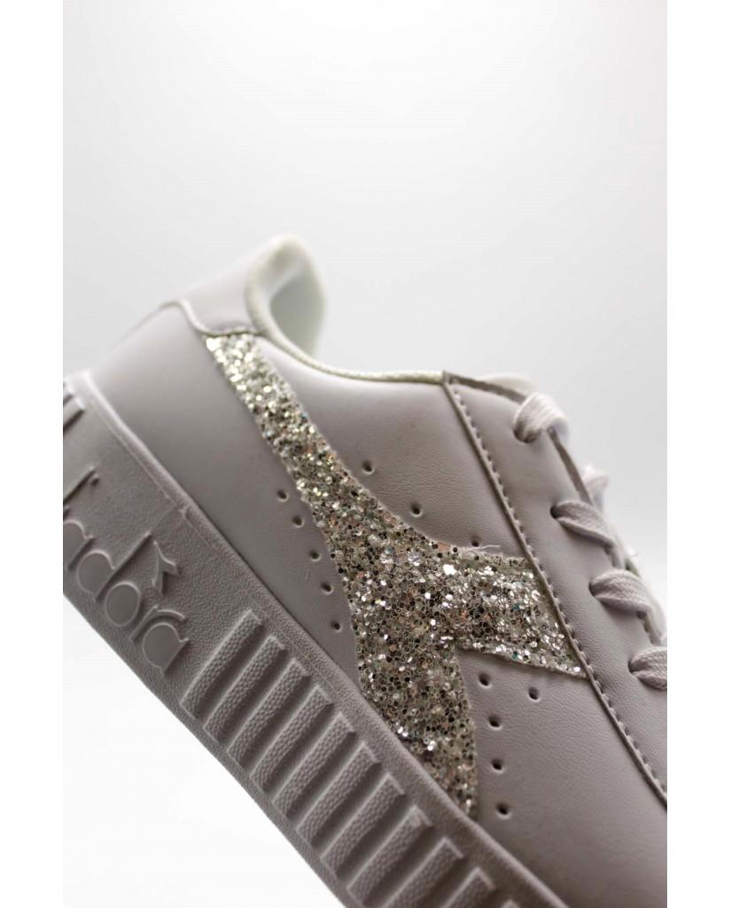Diadora Sneakers F.gomma Game step gs Donna Bianco-argento Sportivo