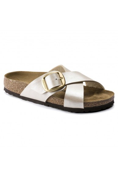 Birkenstock Sandali F.gomma Siena big buckle graceful pearl whi Donna Bianco Casual