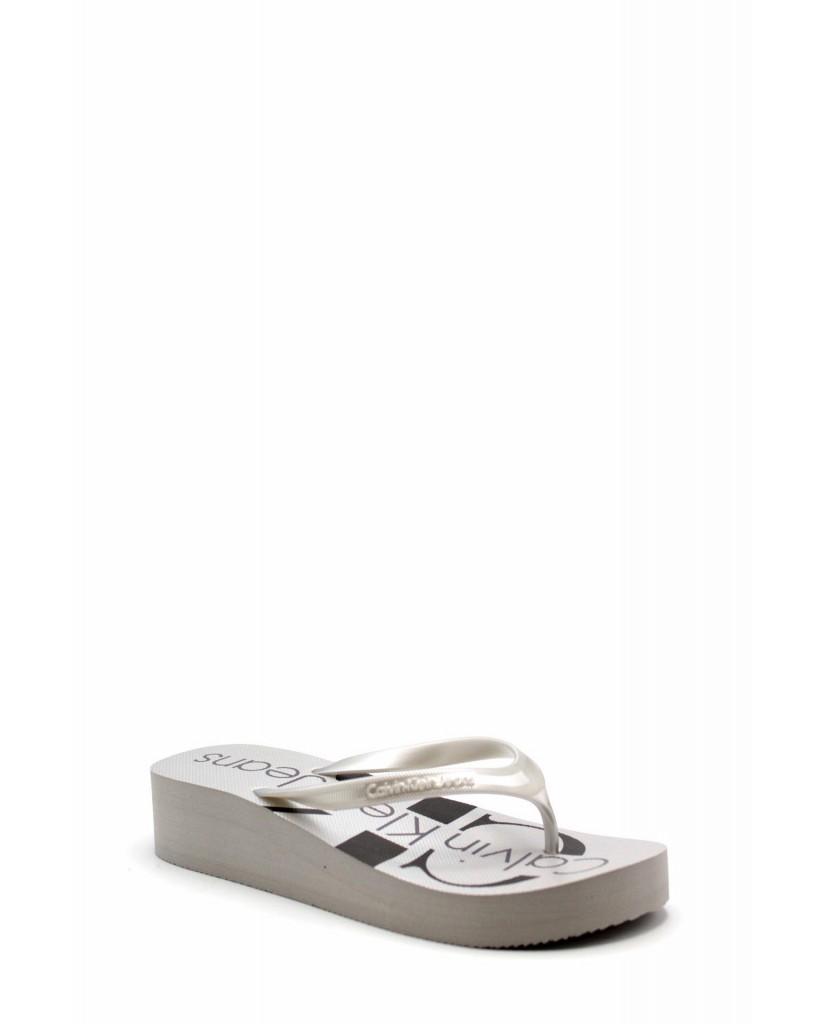 Calvin klein Sandali F.gomma Tesse metallic Donna Argento Fashion