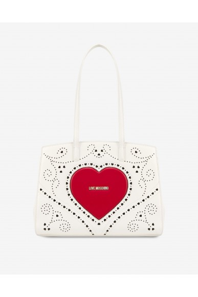 Moschino Borse   Shopper heart embroidery Donna Bianco Fashion