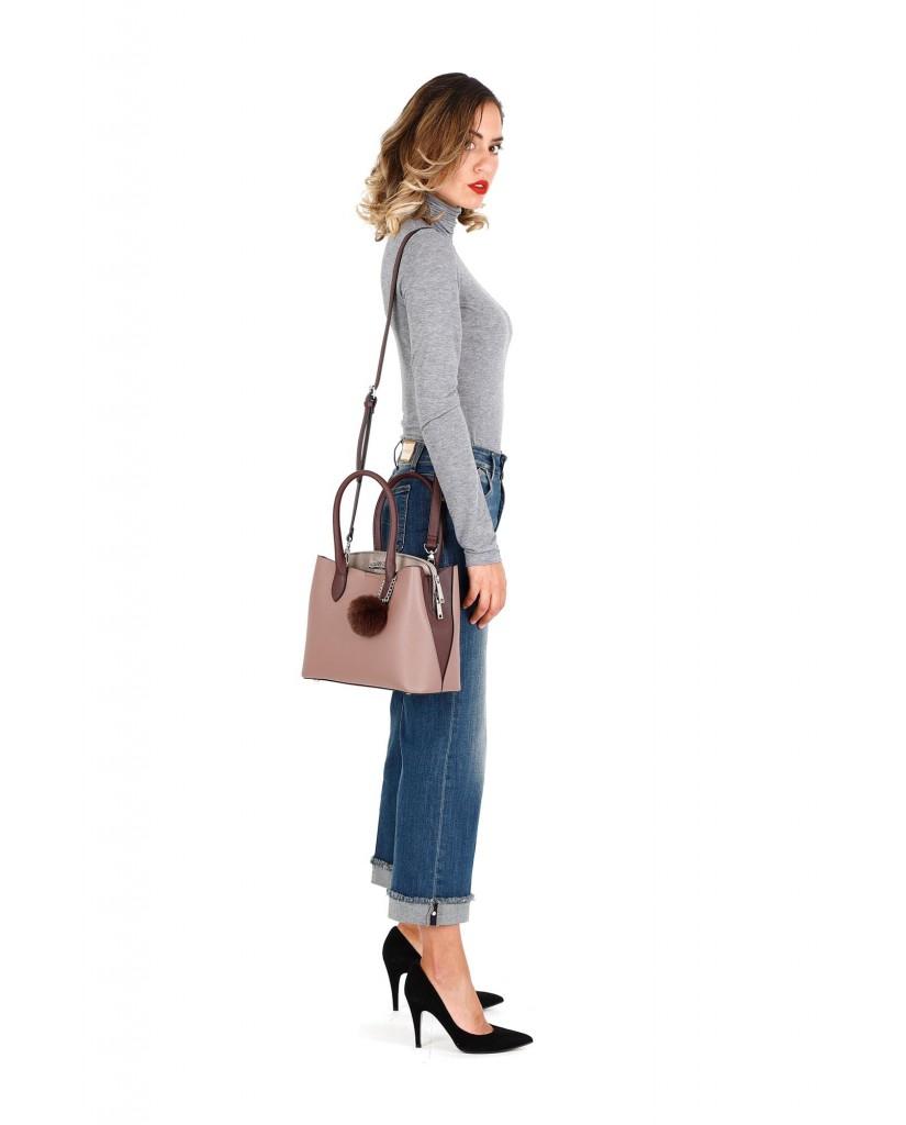 Cafe' noir Borse   Bauletto multisaffiano con pon-pom Donna Rosa Fashion