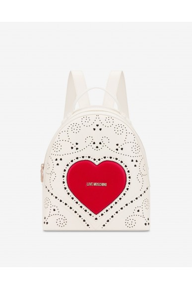 Moschino Backpacks   Zaino heart embroidery Donna Bianco Fashion