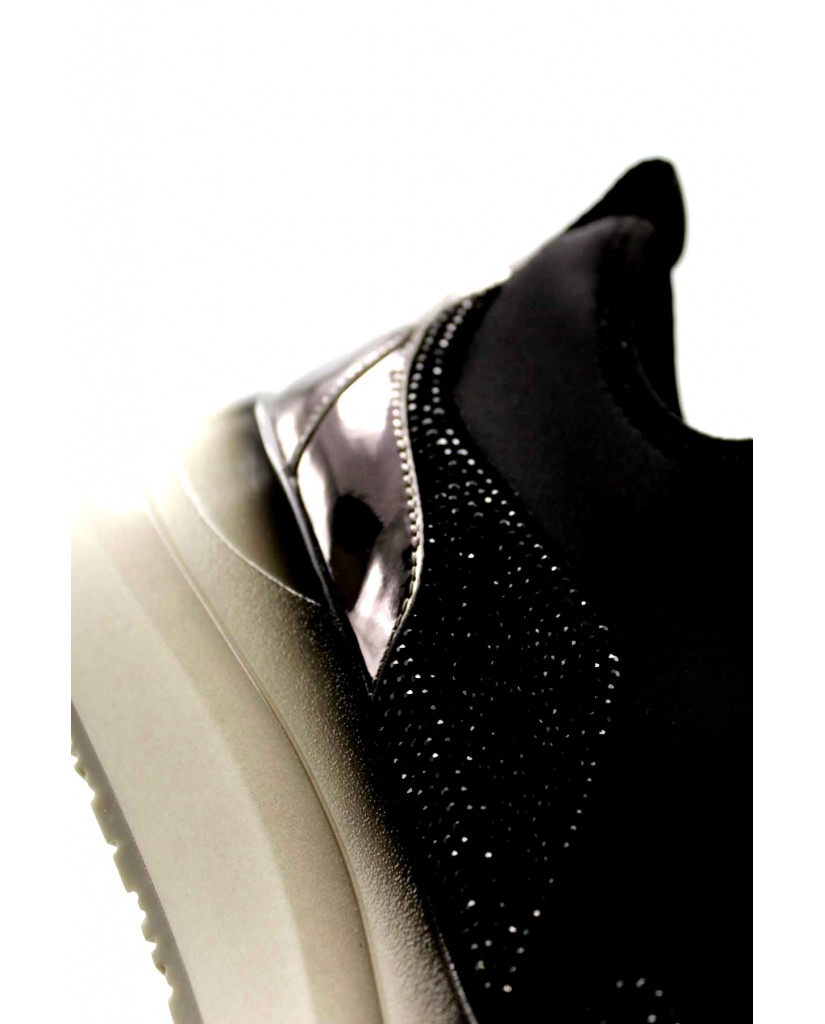Cafe' noir Sneakers F.gomma Slipon lycra strass Donna Nero Fashion