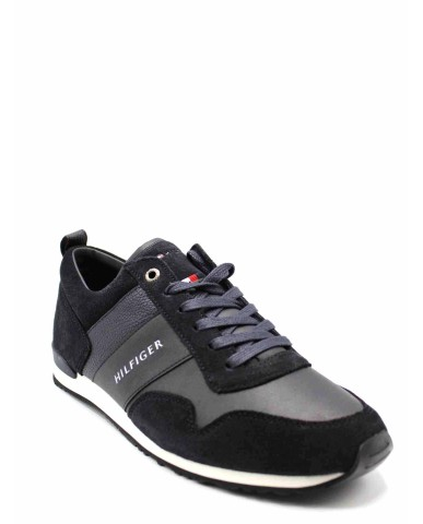 Tommy hilfiger Sneakers F.gomma Iconic leather suede mix runner Uomo Blu Casual