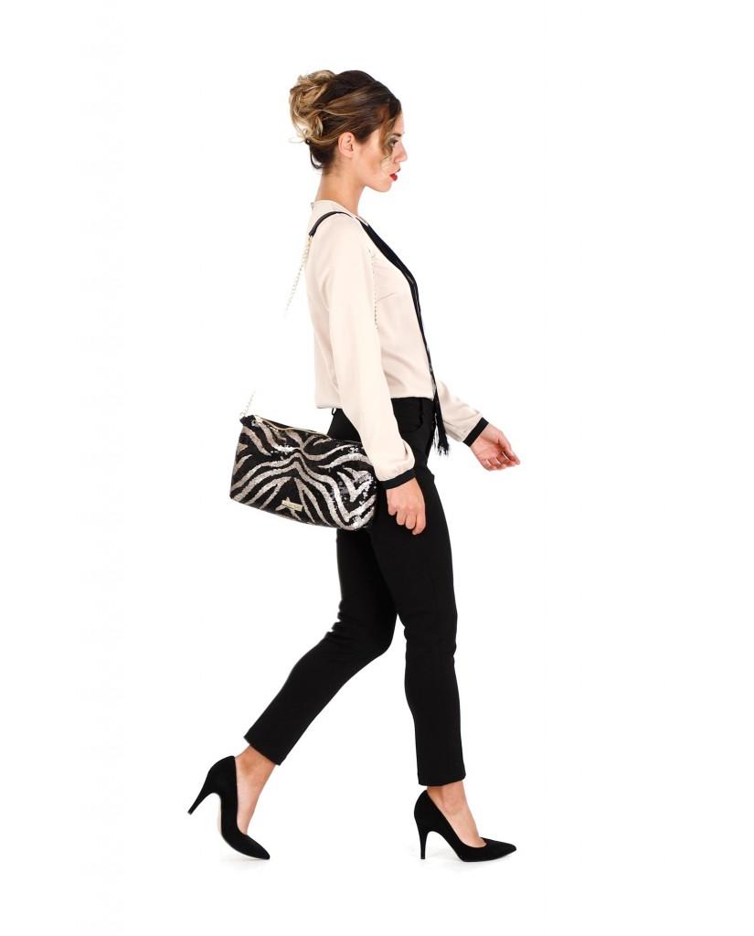 Cafe' noir Borse   Pochette paillettes zebrate Donna Nero Fashion