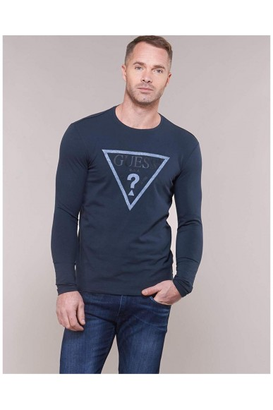 Guess Maglie   Cn ls denim triangle tee Uomo Blu Fashion
