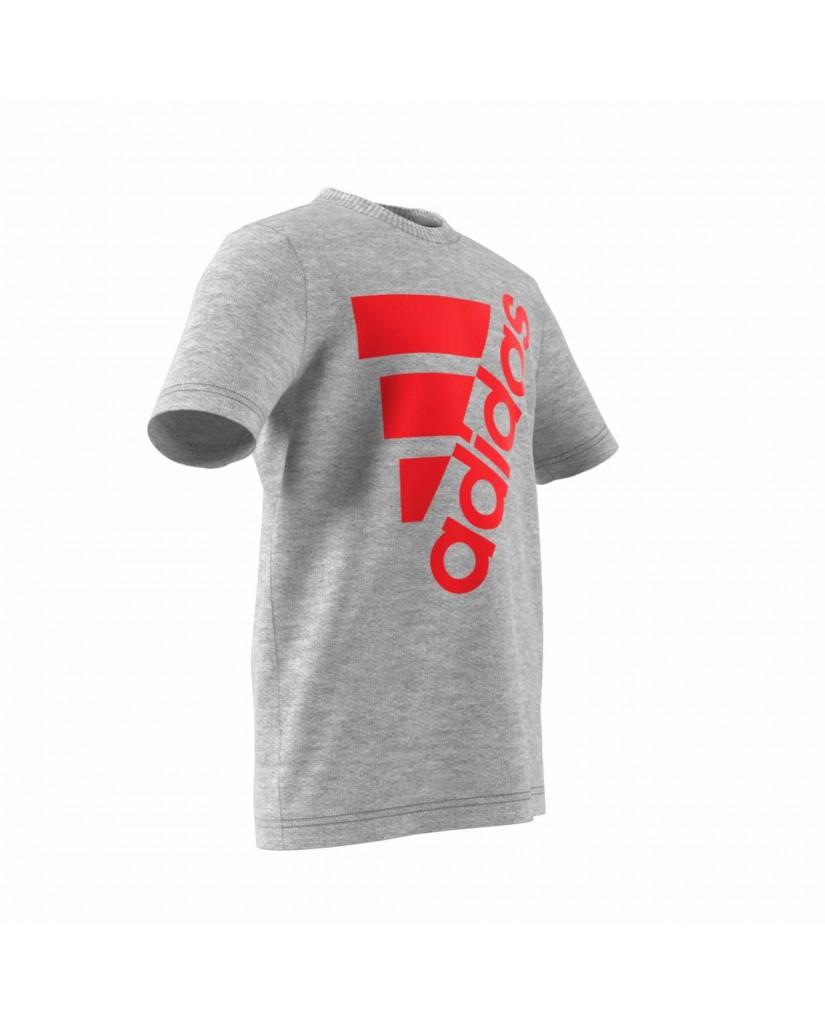 Adidas T-shirt   Yb mh bos t2        mgreyh/actred Bambino Grigio Sportivo