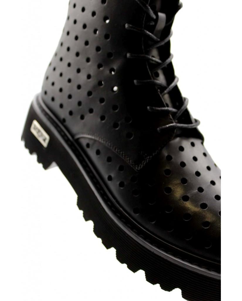 Cult Stivaletti F.gomma Slash 3121 mid w leather black Donna Nero Fashion