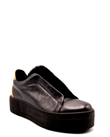 1^classe  Slip-on F.gomma Sneaker fondo casset Donna Nero Fashion