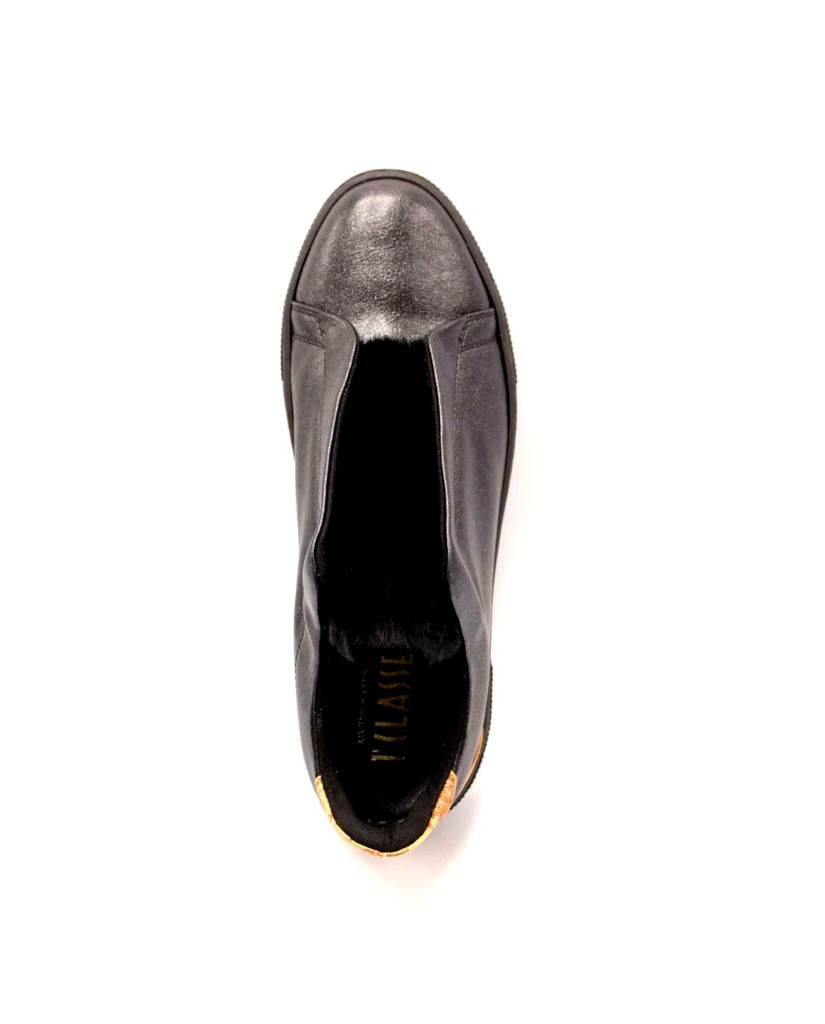 1^classe  Slip-on F.gomma Sneaker fondo casset Donna Nero Fashion