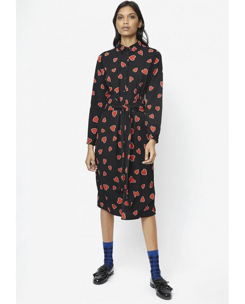 Compagnia fantastica Abiti   Vestito nero chemisier midi cuori rossi Donna Nero Fashion