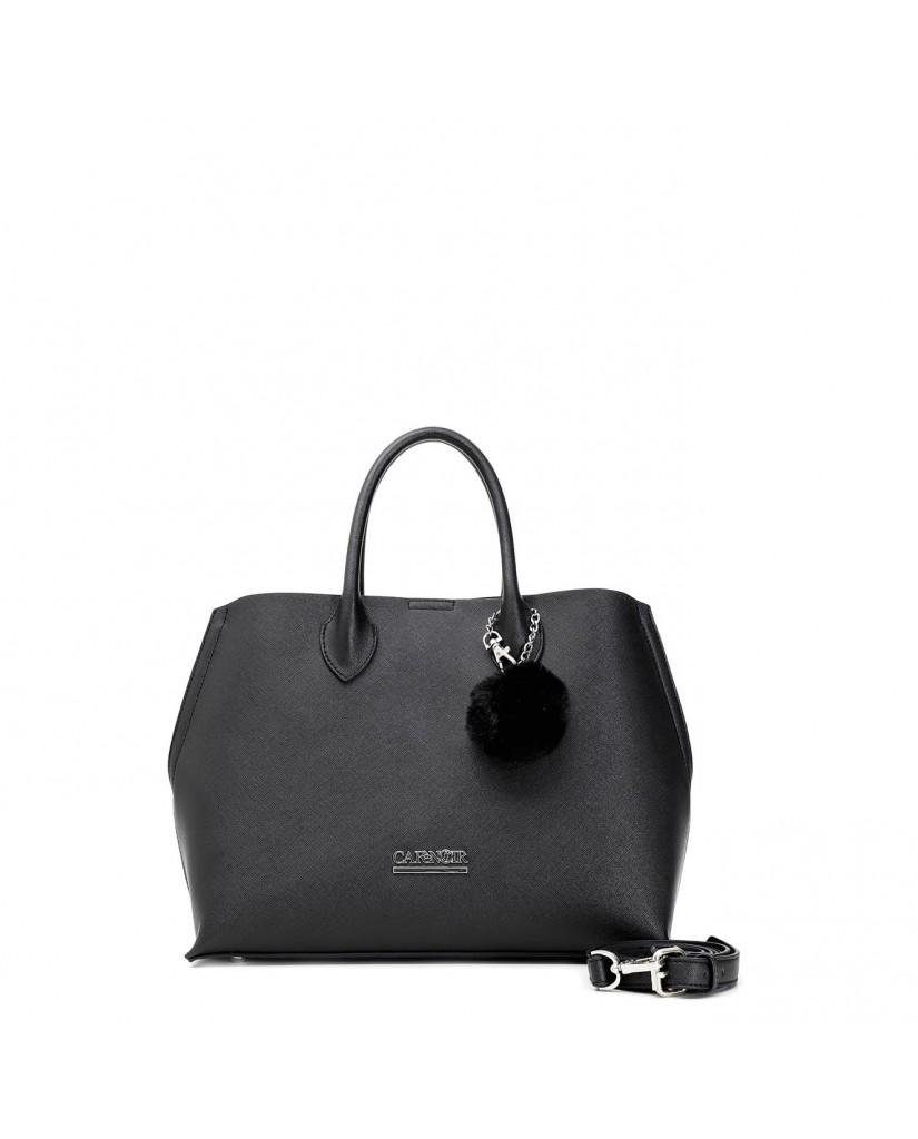 Cafe' noir Borse   Shopping multisaffiano con pon-pom Donna Nero Fashion