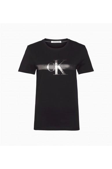 Calvin klein jeans T-shirt   Metallic mesh ck sli Donna Nero Fashion