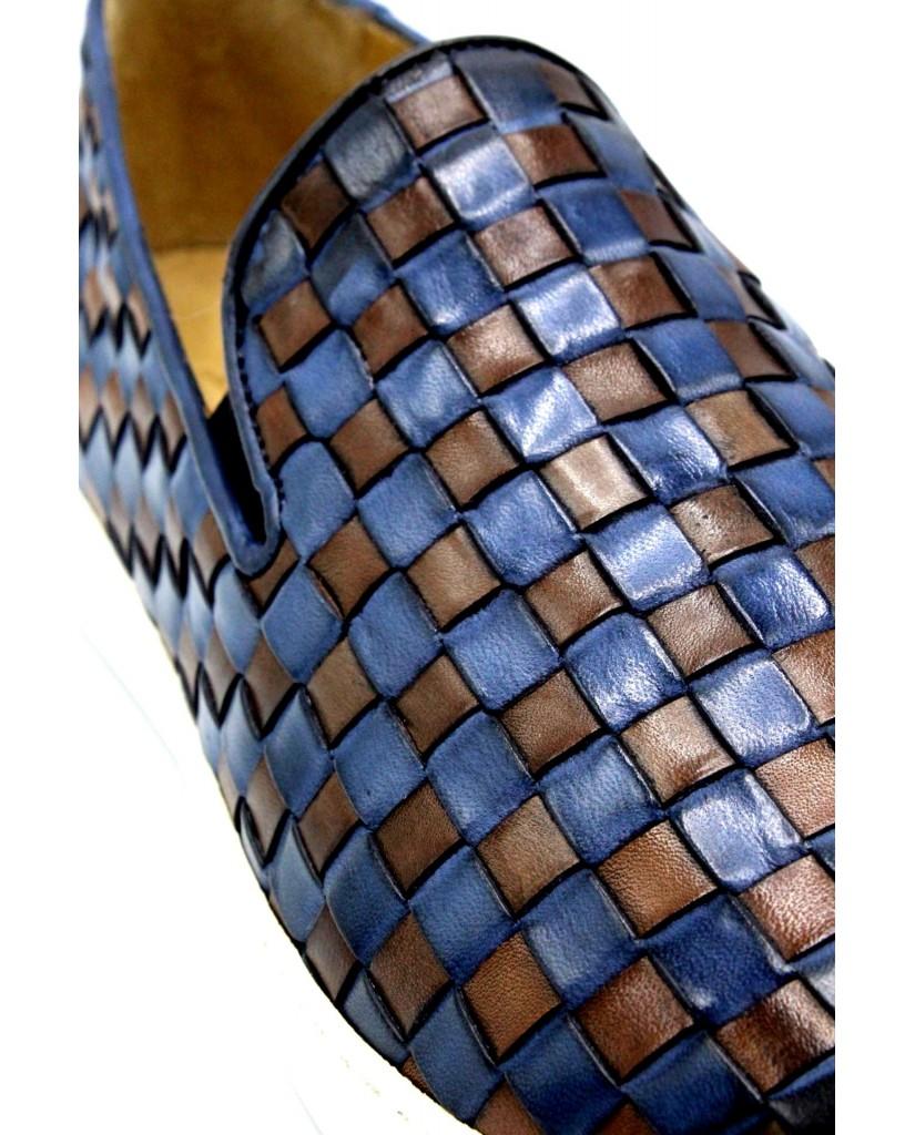 Brecos Slip-on F.cuoio 40/45 made in italy  7730 Uomo Azzurro Classico