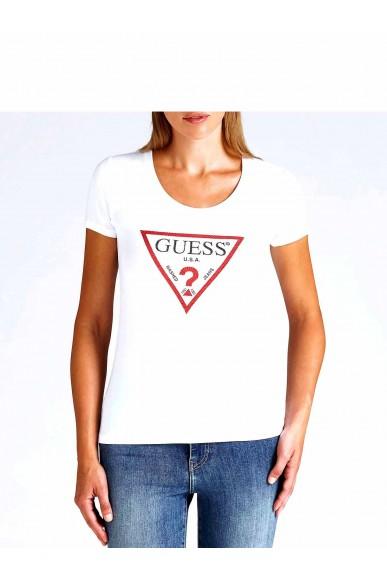 Guess Maglie   Ss cn basic triangle tee Donna Bianco Fashion