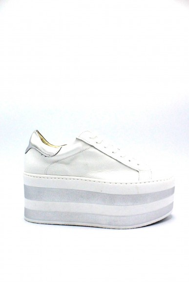 Nicole Sneakers F.gomma Platform made in italy Donna Bianco-argento Fashion