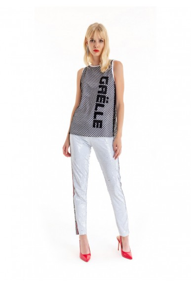 Gaelle paris Canottiere   Canotta jersey+rete+stampa Donna Bianco Fashion