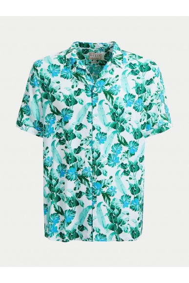 Guess Camicie   Ss resort shirt Uomo Verde-blu Fashion