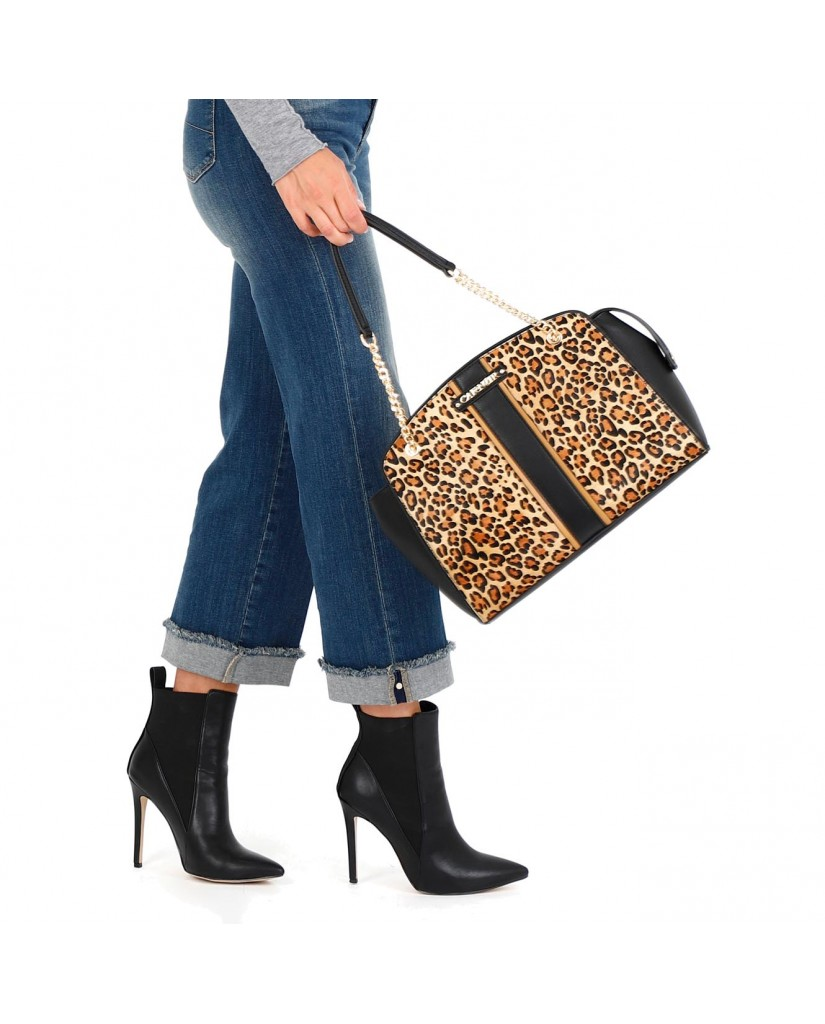 Cafe' noir Borse   Shopping leopardo con fascia centra Donna Maculato Fashion