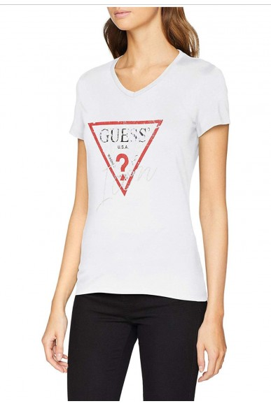 Guess T-shirt   Ss vn icon tee Donna Bianco Fashion