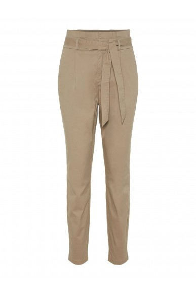 Vero moda Pantaloni   Vmeva hr loose paperbag cot pant no Donna Beige Fashion
