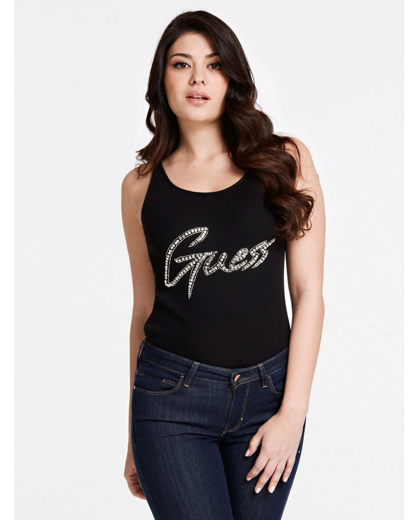 Guess Canottiere   Babe tank top Donna Nero Fashion