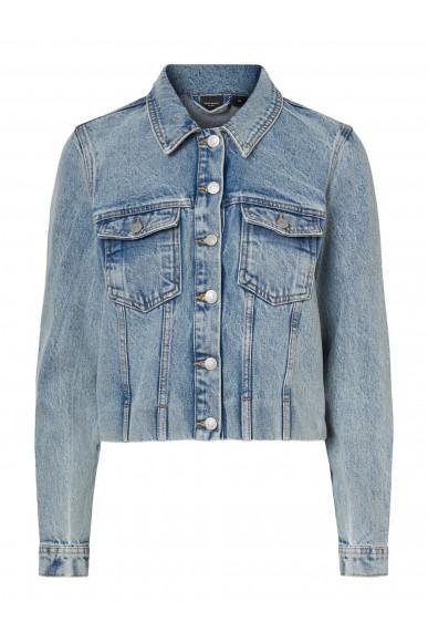 Vero moda Giacchetti   Vmmikky ls cropped denim jacket vi3 Donna Blu Fashion