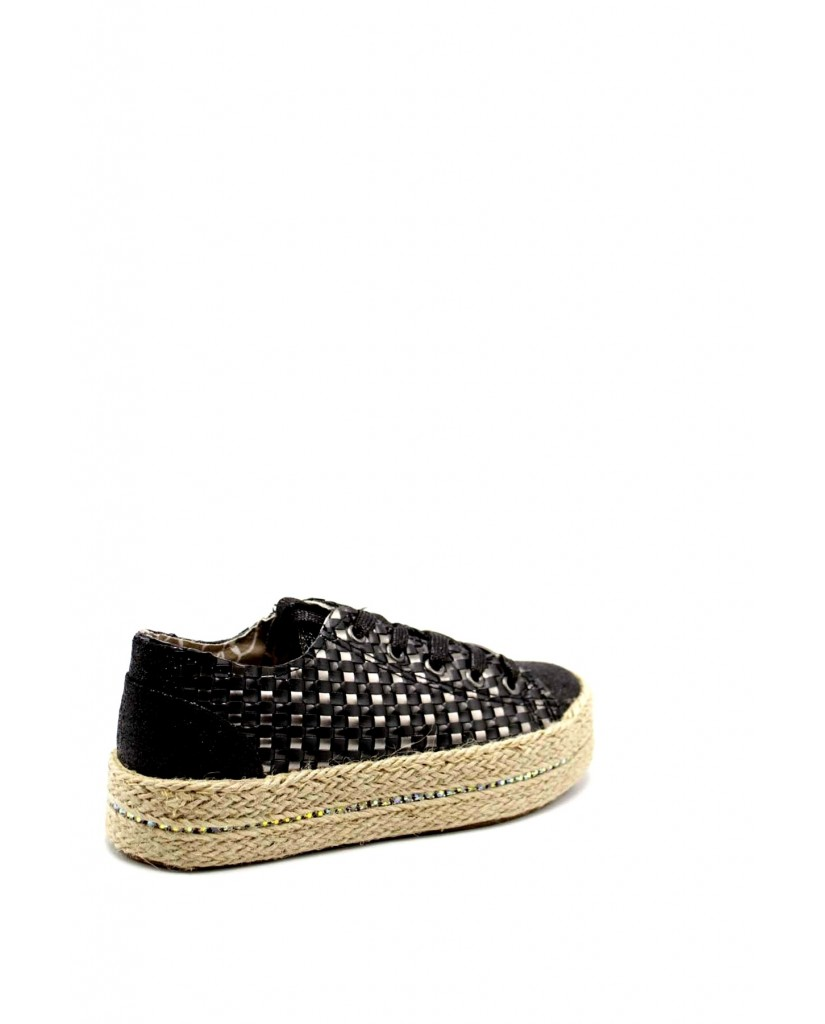 Cafe' noir Sneakers F.gomma Sneakers in similpelle intrecciata Donna Nero Fashion
