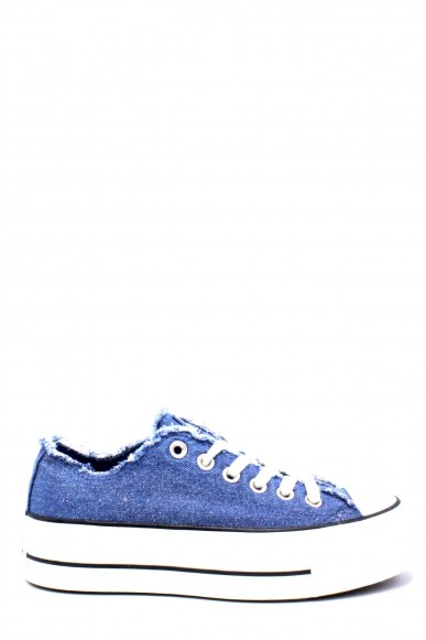 Converse Sneakers F.gomma 35/40 chuck taylor jeans platform Donna Blu Sportivo