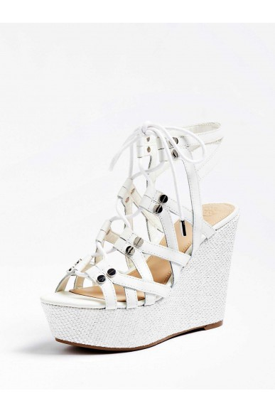 Guess Sandali   Gray zeppa (wedge) leather Donna Bianco Fashion