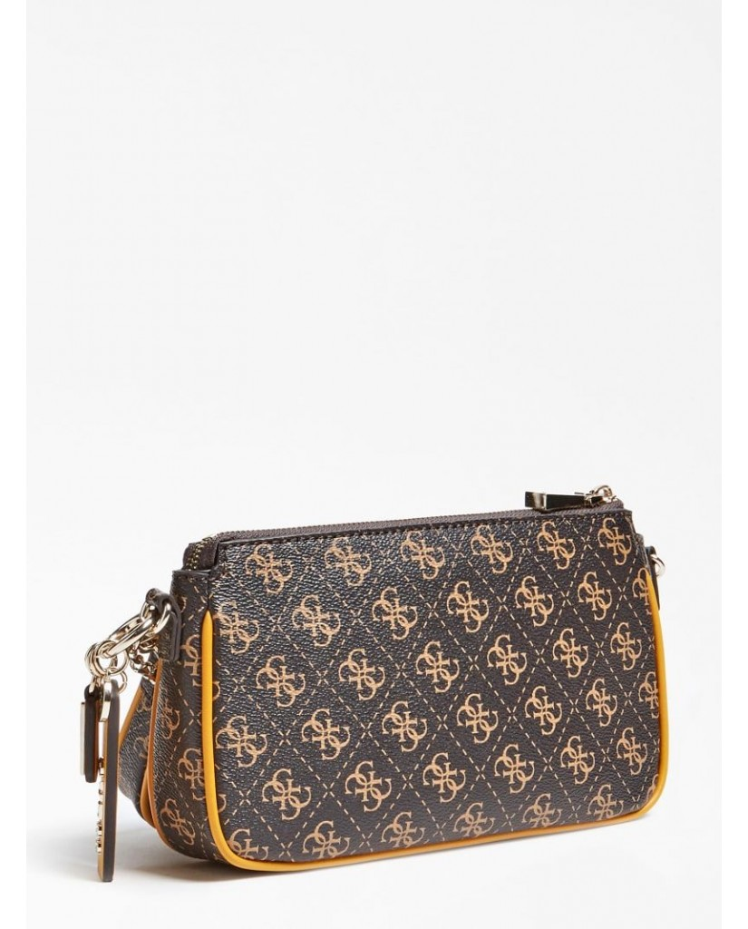 Guess Tracolle   Arie double pouch crossbody Donna Marrone Fashion
