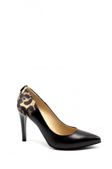 Nero giardini Decollete F.gomma Nappa pandora nero t.raso leopard e Donna Nero Elegant