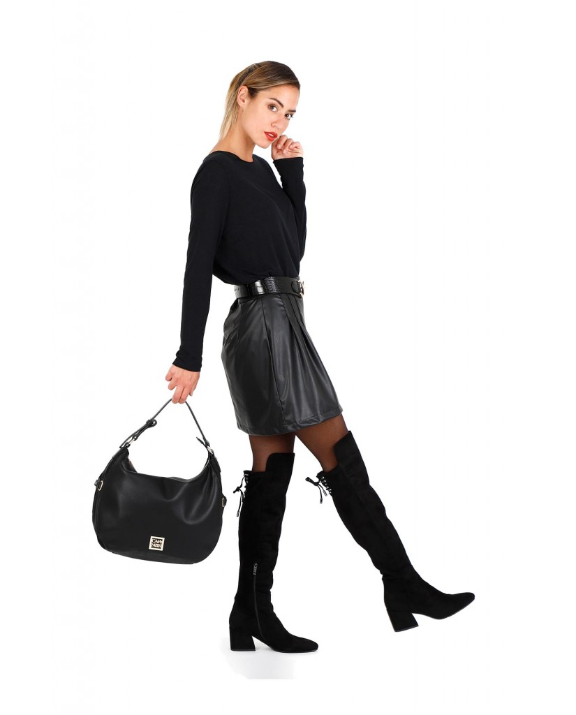 Cafe' noir Borse   Sacca bimateriale Donna Nero Fashion